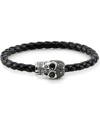 Thomas Sabo | Black Unity Plaited Leather Embellished Skull Head Bracelet | Lyst