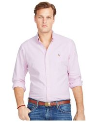 Polo Ralph Lauren | Pink Big And Tall Striped Oxford Shirt for Men | Lyst