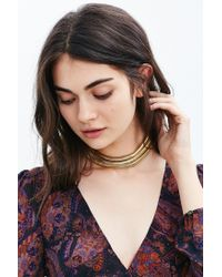 Urban Outfitters - Metallic Spotlight Triple Chain Choker Necklace - Lyst