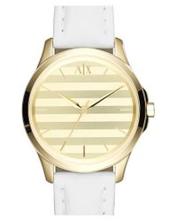 Armani Exchange - Metallic Stripe Dial Leather Strap Watch - Lyst