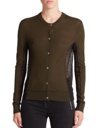 Marc By Marc Jacobs | Green Holly Mixed-media Cardigan | Lyst
