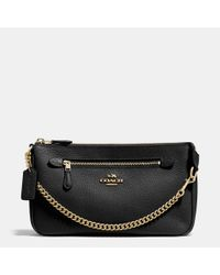 COACH | Black Nolita Wristlet 24 In Polished Pebble Leather | Lyst