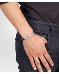 Bottega Veneta - Brown Bracelet In Ebano Intrecciato Nappa And Silver for Men - Lyst
