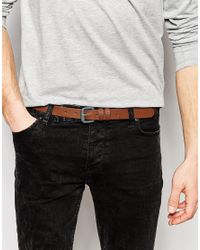 ASOS - Skinny Belt In Brown Faux Leather With Gray Buckle for Men - Lyst