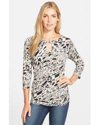 Vince Camuto | Natural 'current Medley' Print Side Ruched Keyhole Top | Lyst