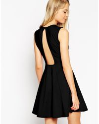 ASOS | Black Sleeveless Skater Dress With Cut Out Back Detail | Lyst