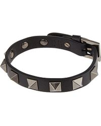 Valentino | Black Studded Leather Bracelet - For Men | Lyst