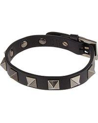 Valentino - Black Studded Leather Bracelet - For Men - Lyst