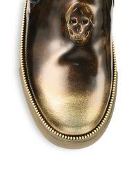Alexander McQueen - Metallic Patent Leather Slip-On Sneakers for Men - Lyst