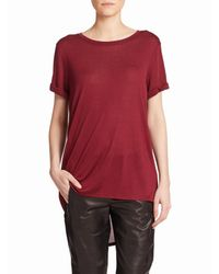 Vince | Red Roll-sleeve Tee | Lyst