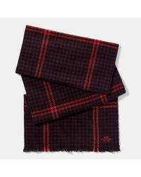 COACH | Red Grid Houndstooth Scarf for Men | Lyst