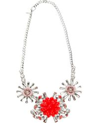 MSGM - Metallic Floral Cut Glass Necklace - Lyst