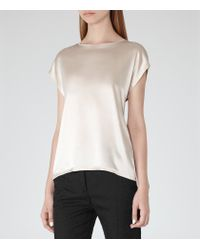 Reiss | Natural Kyara Silk-front Jersey Top | Lyst