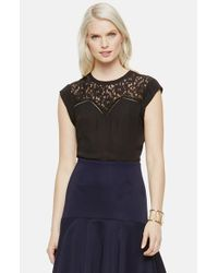 Vince Camuto | Black Lace Yoke Cap Sleeve Blouse | Lyst