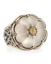 Konstantino - Metallic Round Flower Carved Frosted Crystal Ring Size 7 - Lyst