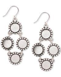 Lucky Brand | Metallic Silver-tone Circle Chandelier Earrings | Lyst