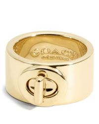 COACH - Metallic Turnlock Ring - Lyst