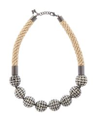 Max Mara | Black Rope Necklace With Check Print Beads | Lyst