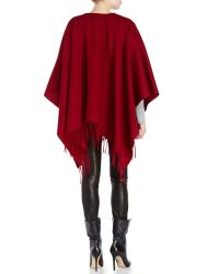 Portolano - Red Ruana Fringe Trim Wool Shawl - Lyst