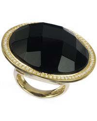 Macy's - Metallic Black Onyx (30 Ct. T.W.) And Cubic Zirconia Ring In 14K Gold Over Sterling Silver - Lyst