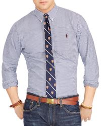 Polo Ralph Lauren | Blue Slim-fit Checked Stretch-oxford Shirt for Men | Lyst