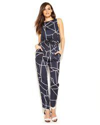 DKNY | Blue Straight-Leg Geo-Print Jumpsuit | Lyst