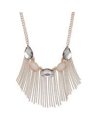 INC International Concepts - Pink Rose Goldtone Stone Tassel Frontal Necklace - Lyst