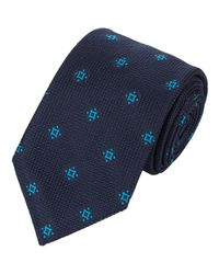 Brioni - Blue Abstract Medallion Neck Tie for Men - Lyst
