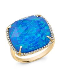 Anne Sisteron | Metallic 14kt Yellow Gold Blue Opal Diamond Cocktail Ring | Lyst