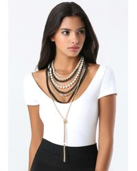 Bebe - Black Chain & Faux Pearl Necklace - Lyst