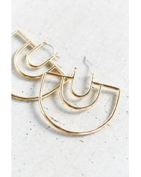 Urban Outfitters | Metallic 18k Gold Plated Geo Hoop Earring | Lyst