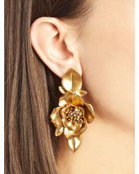 Oscar de la Renta - Metallic Russian Gold Flower Earrings - Lyst