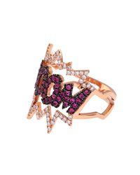 Diane Kordas - Pink Diamond, Sapphire & Gold Boom Ring - Lyst