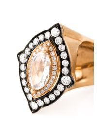 Monan | Metallic 18kt Rose Gold Double Diamond Ring | Lyst