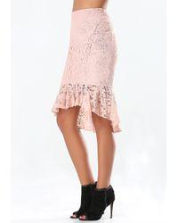 Bebe | Pink Lace Flounce Midi Skirt | Lyst
