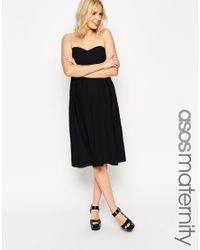 ASOS | Black Maternity Bandeau Midi Skater Dress | Lyst