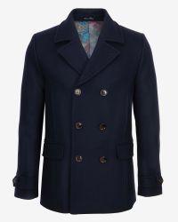 Ted Baker - Blue Herringbone Wool Peacoat for Men - Lyst