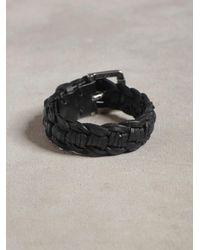 John Varvatos - Black Braided Leather Cuff for Men - Lyst