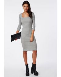 Missguided - Gray Ribbed Bodycon Midi Dress Grey - Lyst