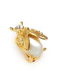 Kenneth Jay Lane - White Faux Pearl Ladybug Clip Earrings - Lyst