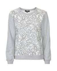 TOPSHOP - Gray Lace Sweatshirt By Goldie - Lyst