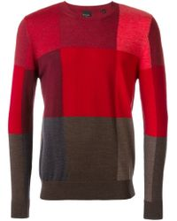 PS by Paul Smith - Red Colour Block Sweater for Men - Lyst