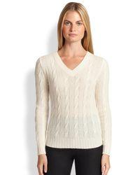 Ralph Lauren Black Label - Natural V-Neck Cashmere Sweater - Lyst