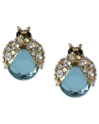 Betsey Johnson | Metallic Gold-tone Blue Glass Crystal Bug Stud Earrings | Lyst