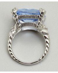 Judith Ripka | Blue Quartz And White Sapphire Cushion Cut Stone Ring | Lyst