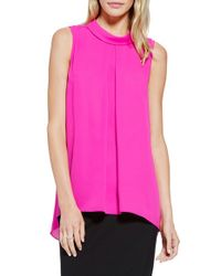 Vince Camuto | Pink Round-Neck Crepe Blouse | Lyst