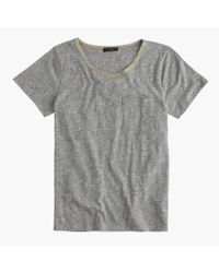 J.Crew | Gray Pocket T-shirt With Metallic Trim | Lyst