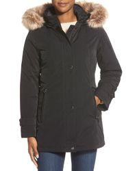 Gallery Black Faux Fur Trim Stadium Coat