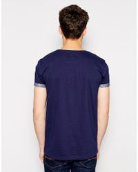 ASOS - Blue Tshirt with Mermaid Tattoo Print and Roll Sleeve for Men - Lyst