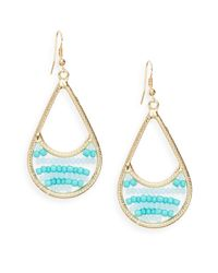 Saks Fifth Avenue - Blue Beaded Swing Earrings - Lyst